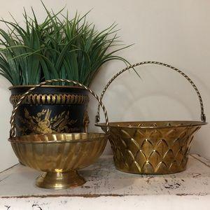 Bundle of 2 Vintage Brass Baskets